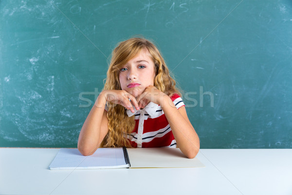 Nudny smutne student uczennica biurko klasie Zdjęcia stock © lunamarina