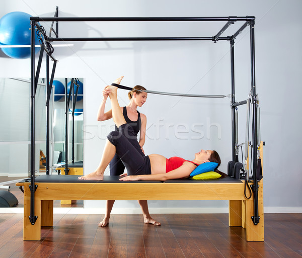 Femme enceinte pilates jambe printemps exercice entraînement Photo stock © lunamarina