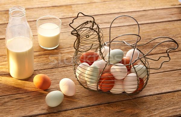 Huevos leche vintage gallina forma cesta Foto stock © lunamarina