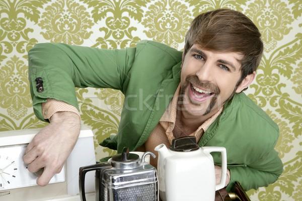 Stockfoto: Geek · retro · man · drinken · thee · koffie