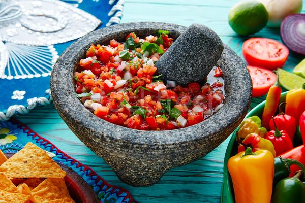 Pico de Gallo sauce from Mexico in molcajete Stock photo © lunamarina