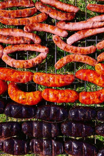 Grilled sausages at bar b cue Stock photo © lunamarina