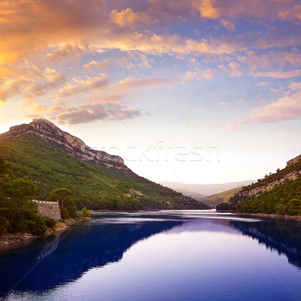 водохранилище Испания закат горные синий путешествия Сток-фото © lunamarina