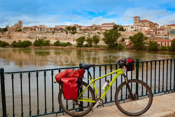 Zamora Duero river with pilgrim bike Stock photo © lunamarina