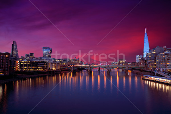 Лондон Skyline закат Темза реке отражение Сток-фото © lunamarina
