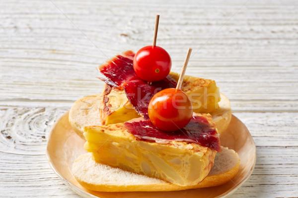 Spanyol sonka tapas Spanyolország étel receptek Stock fotó © lunamarina