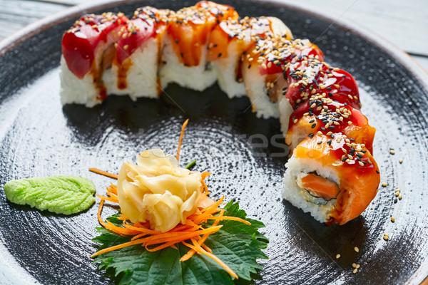 Riso maki sushi salmone tonno pesce Foto d'archivio © lunamarina