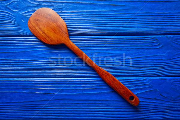 Chef spatola blu legno strumento texture Foto d'archivio © lunamarina