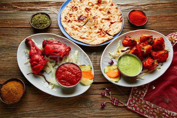Foto stock: Frango · comida · indiana · receitas · textura · laranja · vermelho