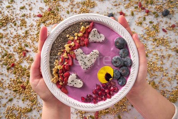 Acai bowl smoothie pitaya hearts blueberry goji Stock photo © lunamarina