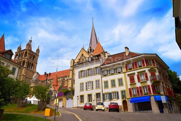 Ville Cathédrale Notre-Dame Suisse printemps bâtiment paysage Photo stock © lunamarina