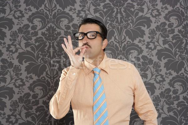 nerd retro man businessman ok positive hand gesture Stock photo © lunamarina