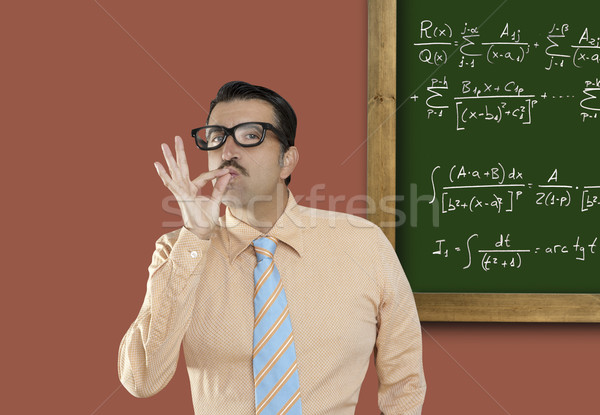 Stock photo: Genius nerd glasses silly man board math formula