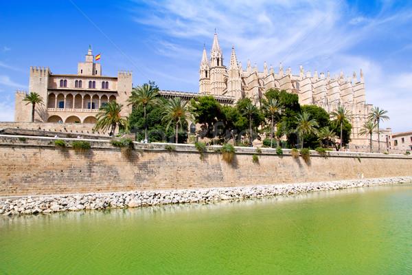 Majorca La seu Cathedral and Almudaina from Palma Stock photo © lunamarina