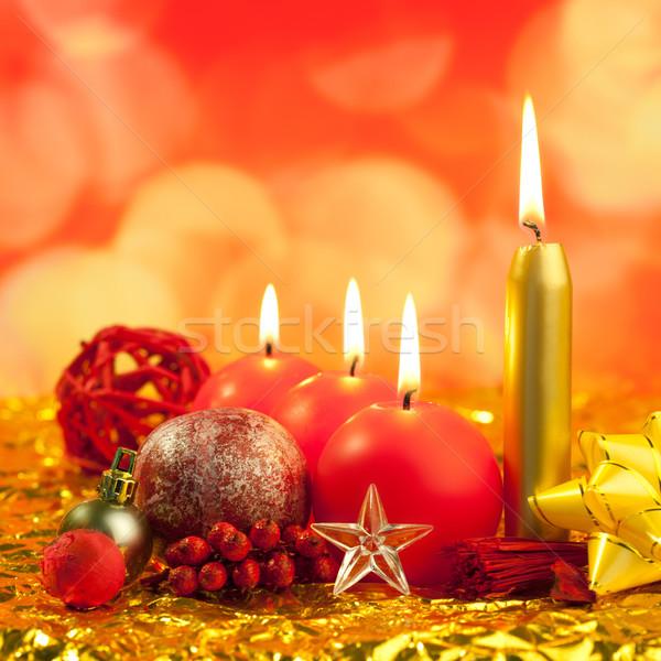 Stockfoto: Christmas · Rood · kaarsen · gouden · bokeh · lichten