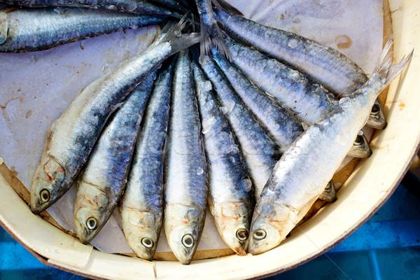 brine salted sardines in round wood box Stock photo © lunamarina