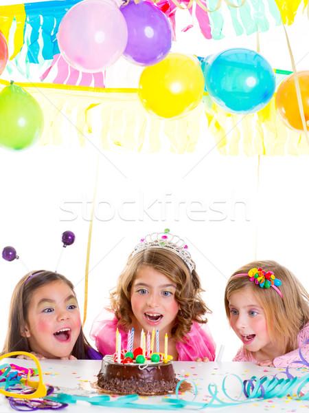 Crianças criança meninas festa de aniversário veja animado Foto stock © lunamarina