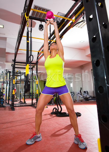 Crossfit fitness Kettlebells swing exercise workout at gym Stock photo © lunamarina