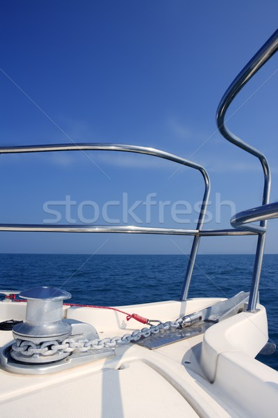 boat bow sailing sea with anchor chain winch Stock photo © lunamarina