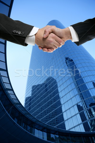Businessman partners shaking hands with suit ストックフォト © lunamarina