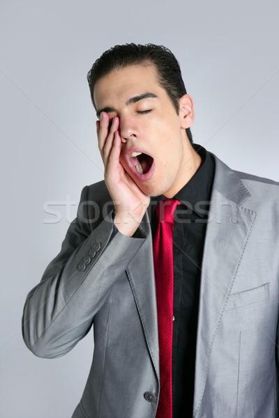 Сток-фото: бизнесмен · зевать · скучный · серый · костюм · красный