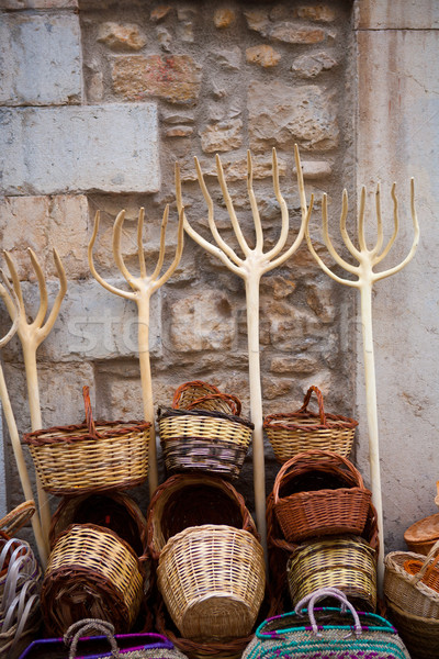 Traditionals baskets and cereal wooden forks in Maestrazgo Stock photo © lunamarina