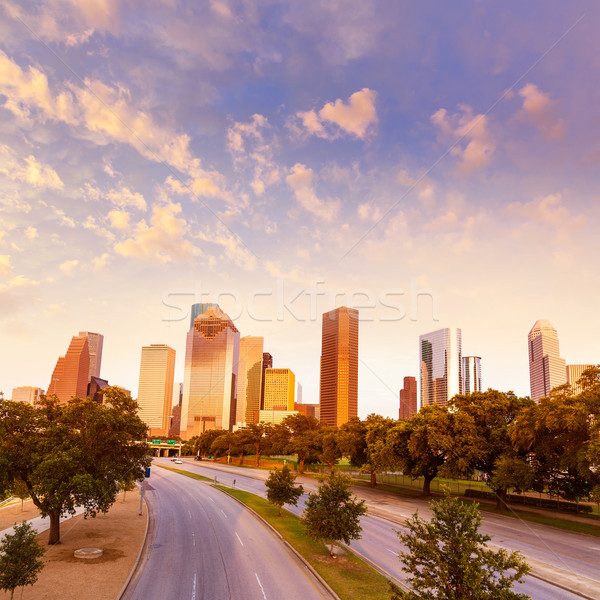 Houston skyline sunset from Allen Pkwy Texas US Stock photo © lunamarina