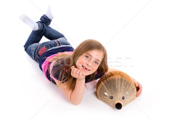 Blond dziecko dziewczyna student jeż książki Zdjęcia stock © lunamarina