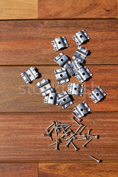 Stock photo: Ipe deck wood installation screws clips fasteners