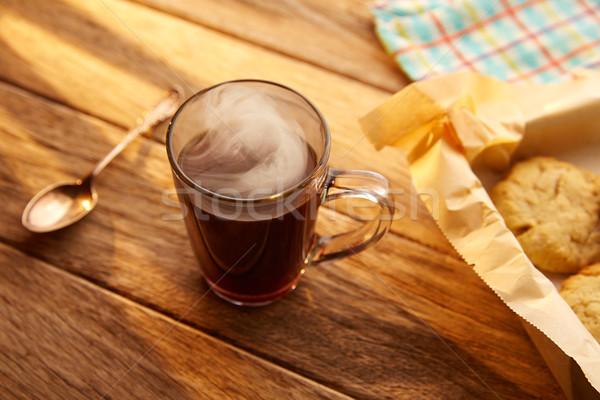 Kávé sütik kekszek házi készítésű klasszikus fa Stock fotó © lunamarina