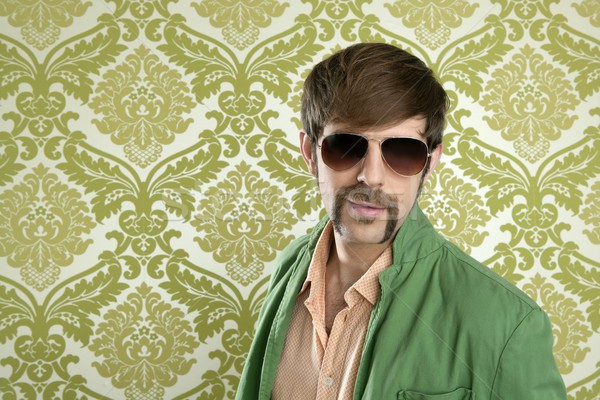 Stock photo: geek retro salesperson man funny mustache