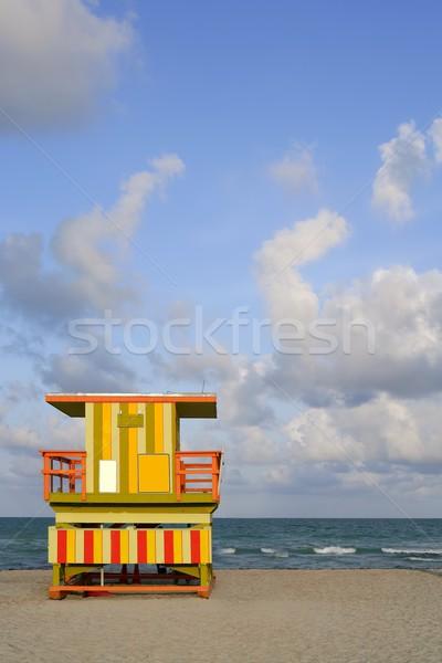 Майами пляж спасатель красочный домах Blue Sky Сток-фото © lunamarina