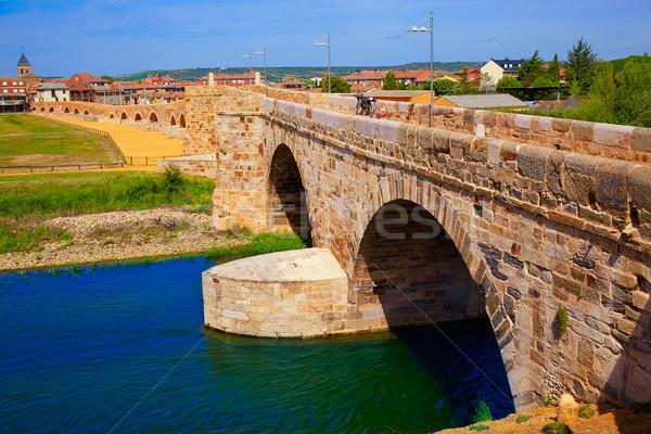 Orbigo river bridge Paso Honroso Saint James Way Stock photo © lunamarina