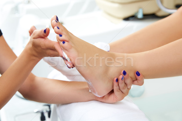 Pedicure moisturizing cram after foot rasp Stock photo © lunamarina