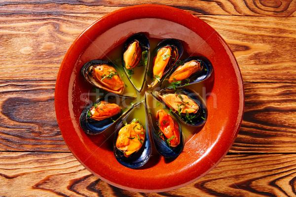 Tapas pára párolt Spanyolország hal vacsora Stock fotó © lunamarina