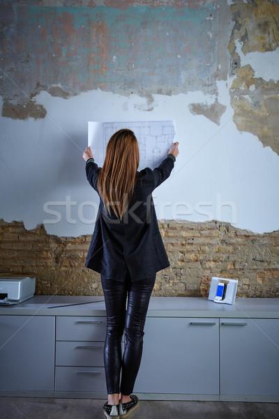 архитектора плана стены вид сзади Сток-фото © lunamarina