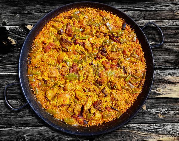 Spanyolország rizs recept fa háttér konyha Stock fotó © lunamarina
