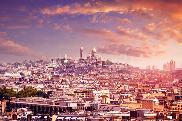Paris skyline and sacre coeur cathedral France Stock photo © lunamarina