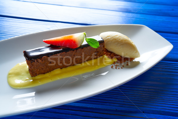 Chocolate brownie with vanilla ice-cream Stock photo © lunamarina