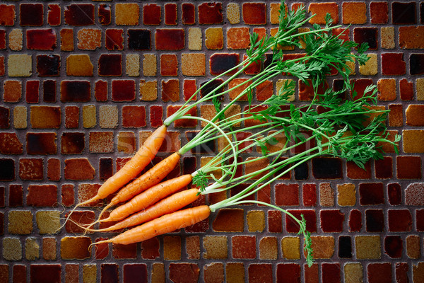 Mini sárgarépa zöldségek csempék asztal étel Stock fotó © lunamarina