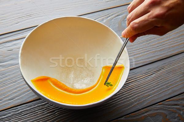 creamy carrot cream painted on white bowl Stock photo © lunamarina