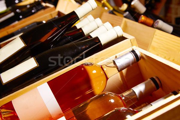 Borospince mediterrán üvegek egymásra pakolva sorok bor Stock fotó © lunamarina