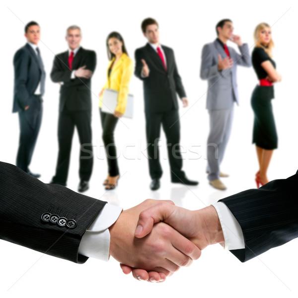 Photo stock: Gens · d'affaires · handshake · société · équipe · bureau · femmes