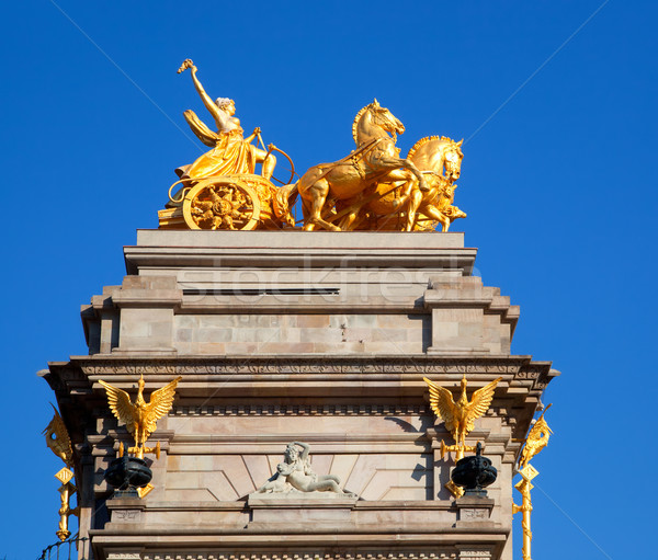 Barcelona ciudadela park Aurora golden quadriga Stock photo © lunamarina