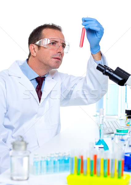 Laboratórium tudós dolgozik labor teszt csövek Stock fotó © lunamarina