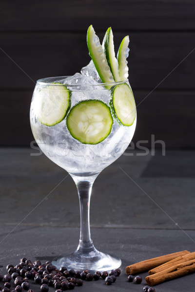 Gin tonic cocktail with cucumber and cinnamon and juniper Stock photo © lunamarina