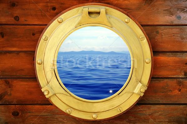 Boat closed porthole with vacation seascape view Stock photo © lunamarina