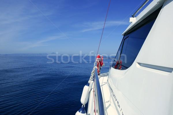 Lancha iate azul oceano mar férias Foto stock © lunamarina