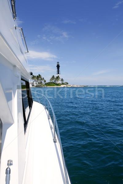 Сток-фото: лодка · вид · сбоку · Флорида · Маяк · синий · морем