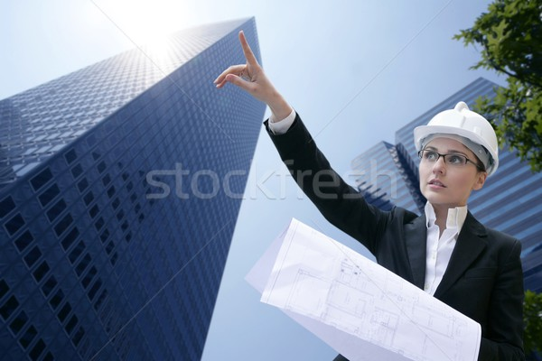 Stock photo: architect woman working outdoor with buildings